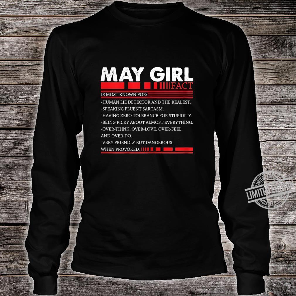Damen May Girl Fact Speaking Fluent Sarcasm Birth Day Shirt long sleeved