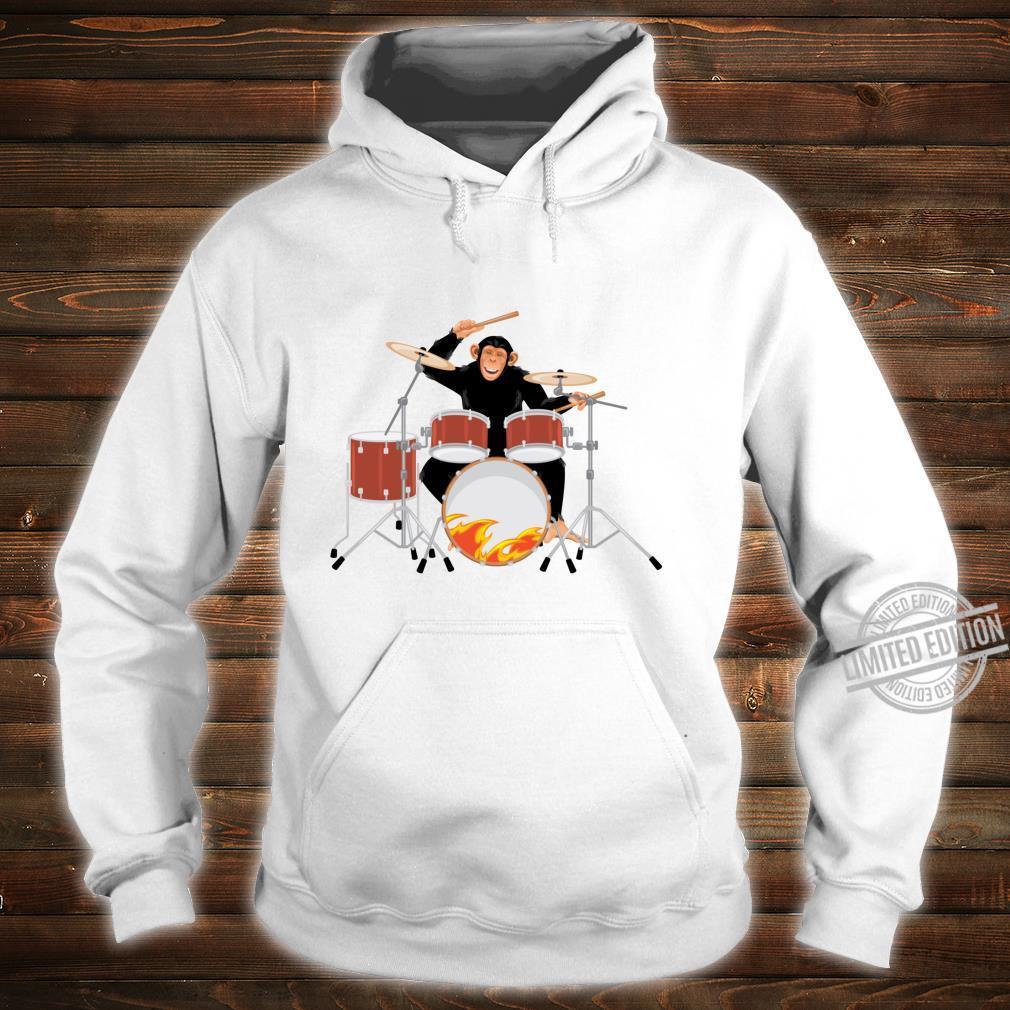 Drumming Monkey. Heavy metal drums with flames.Musical Ape. Shirt hoodie
