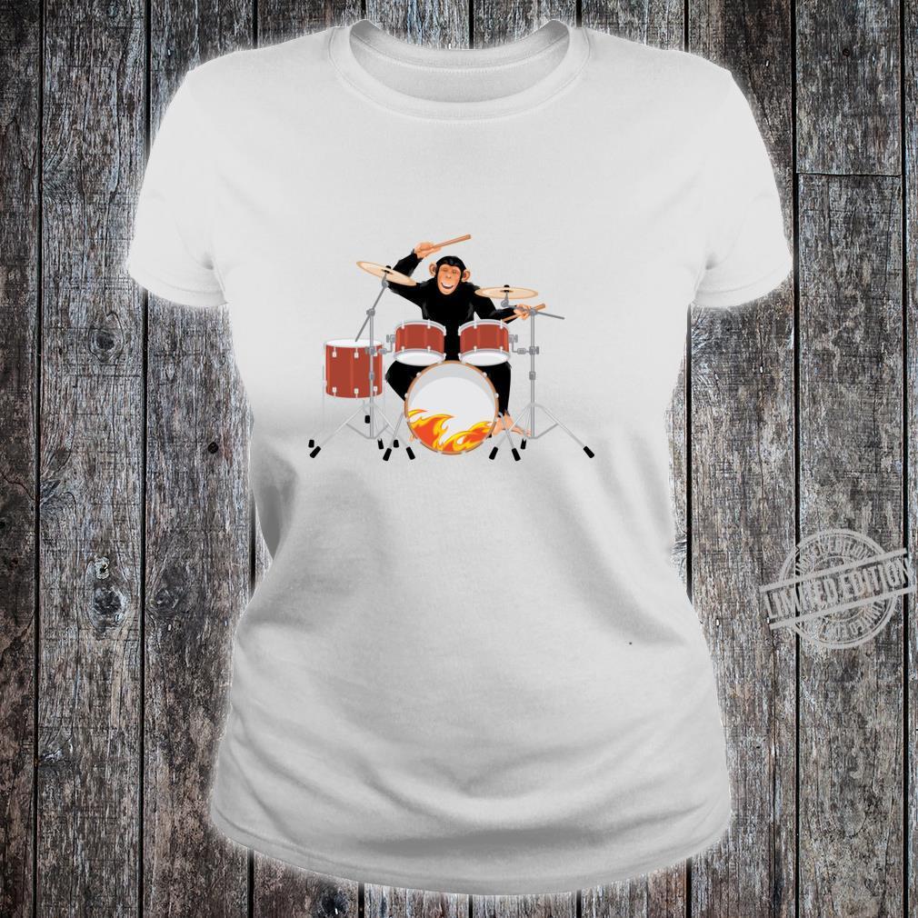 Drumming Monkey. Heavy metal drums with flames.Musical Ape. Shirt ladies tee