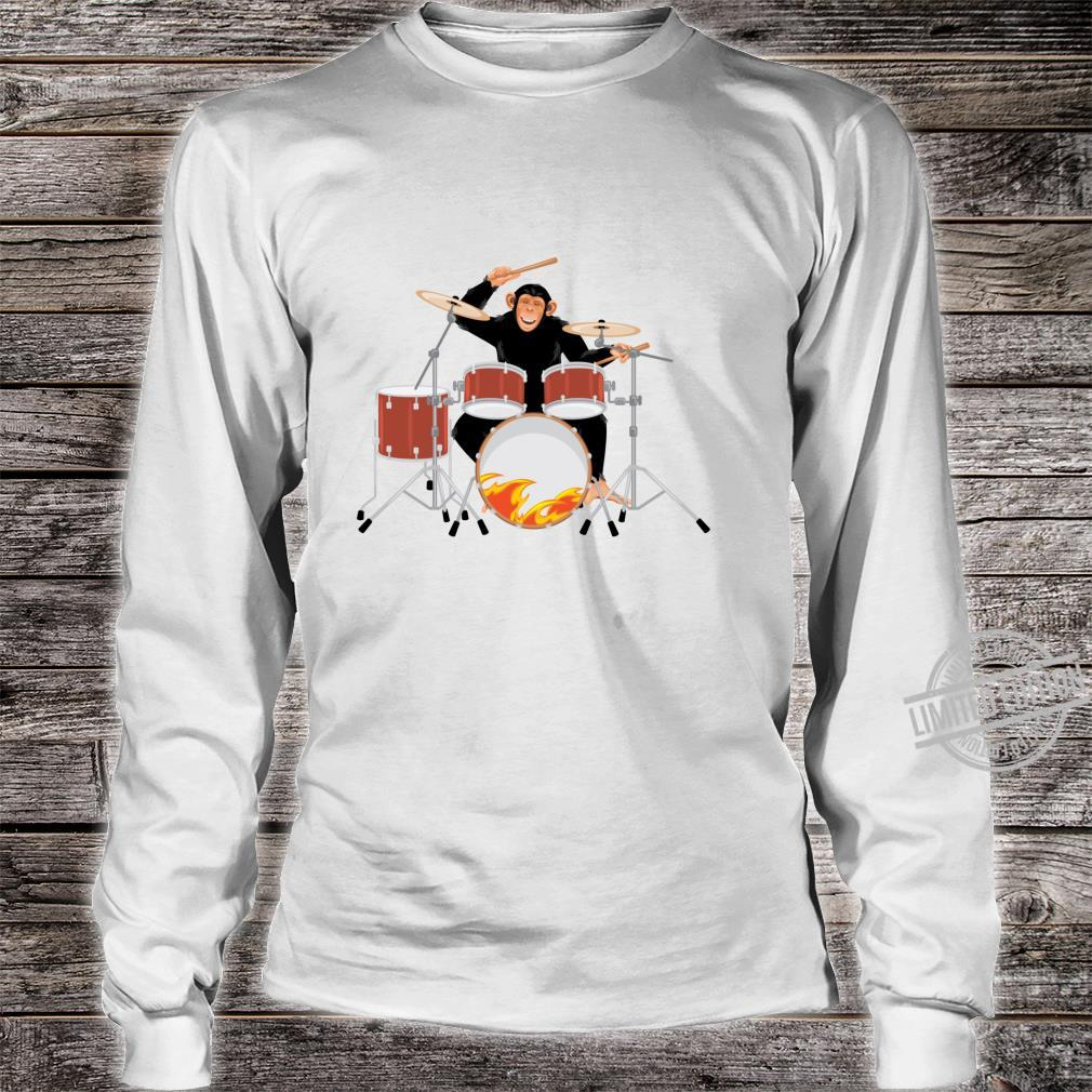 Drumming Monkey. Heavy metal drums with flames.Musical Ape. Shirt long sleeved