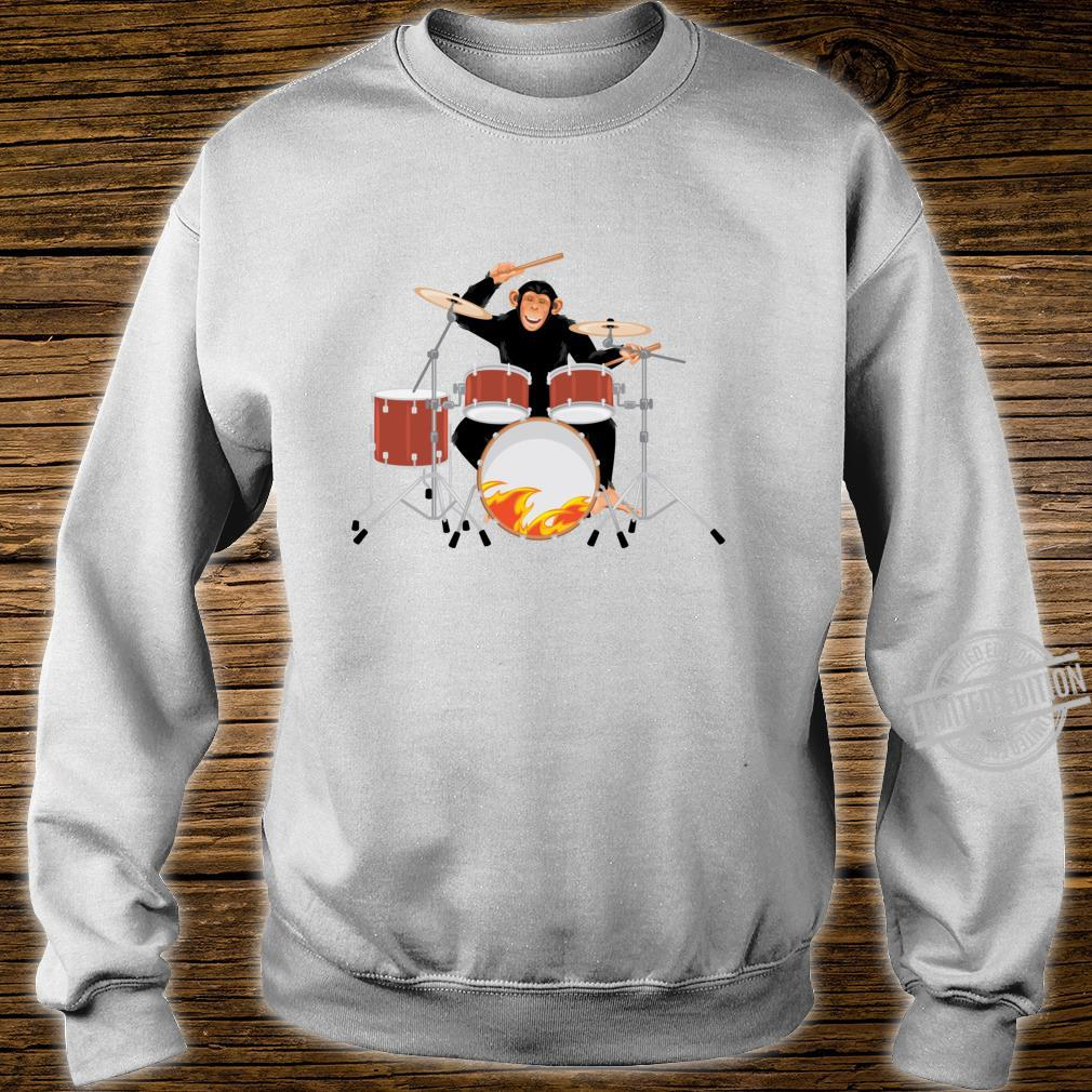 Drumming Monkey. Heavy metal drums with flames.Musical Ape. Shirt sweater