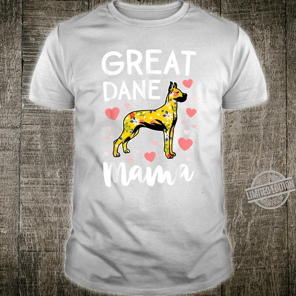 Floral Great Dane Dog Mama Shirt Mom Mother Shirt