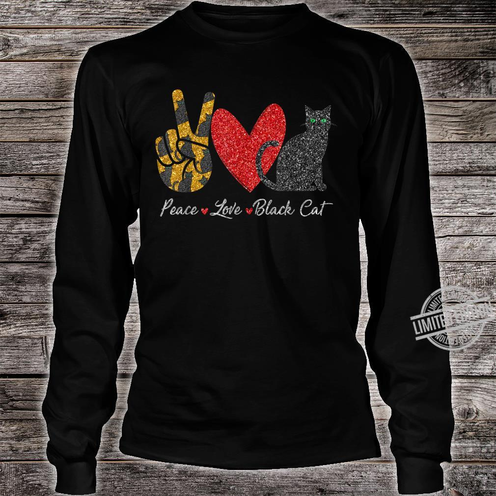 Funny Peace Love Black Cat For Black Cat Shirt long sleeved