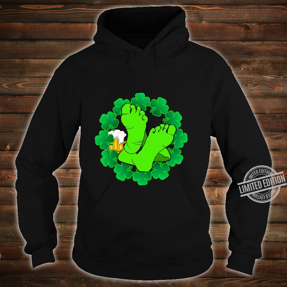 Green Clover Leaves And Leprechaun Feet With Beer Mug Shirt