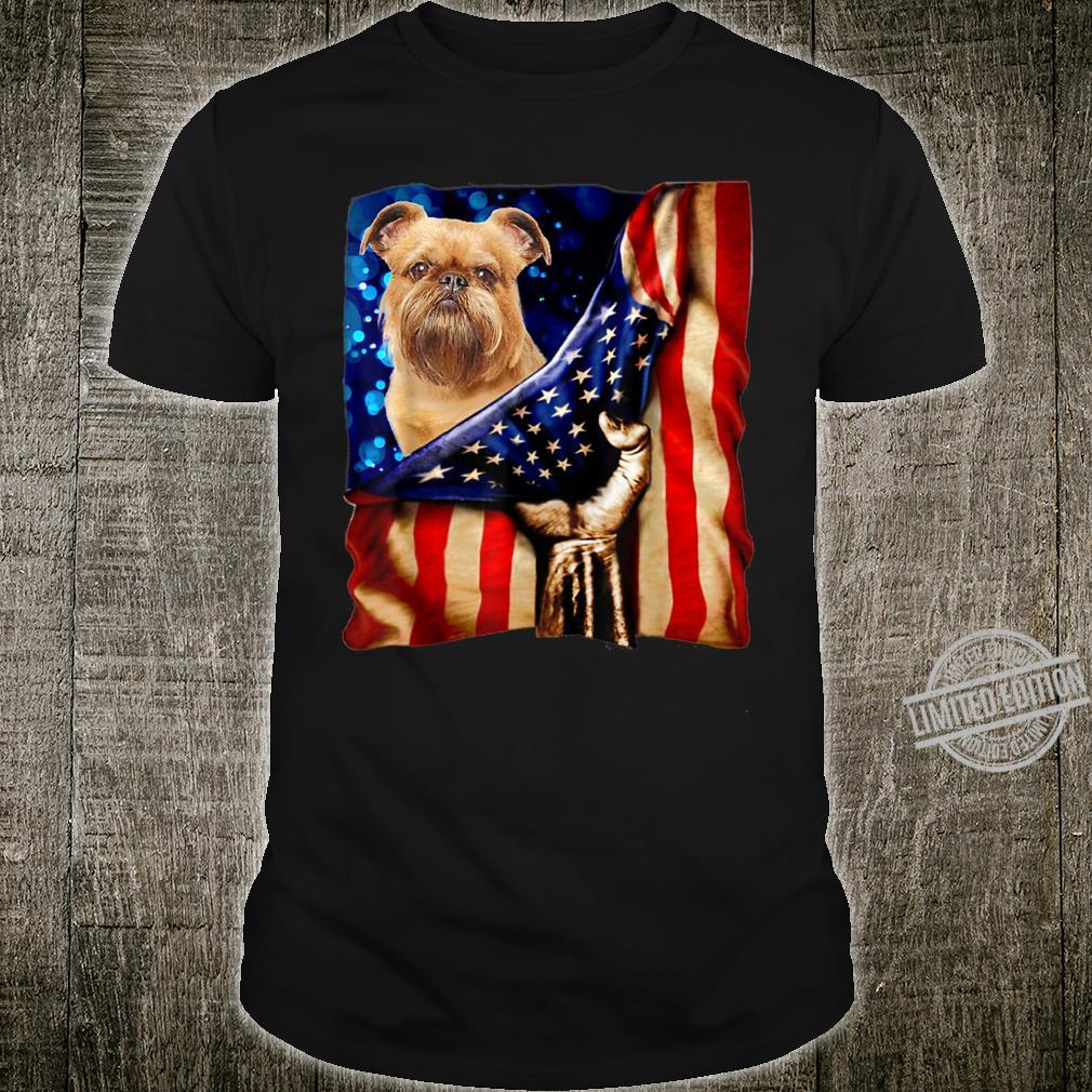 Griffon Bruxellois American Flag Proud Veteran Warrior Shirt