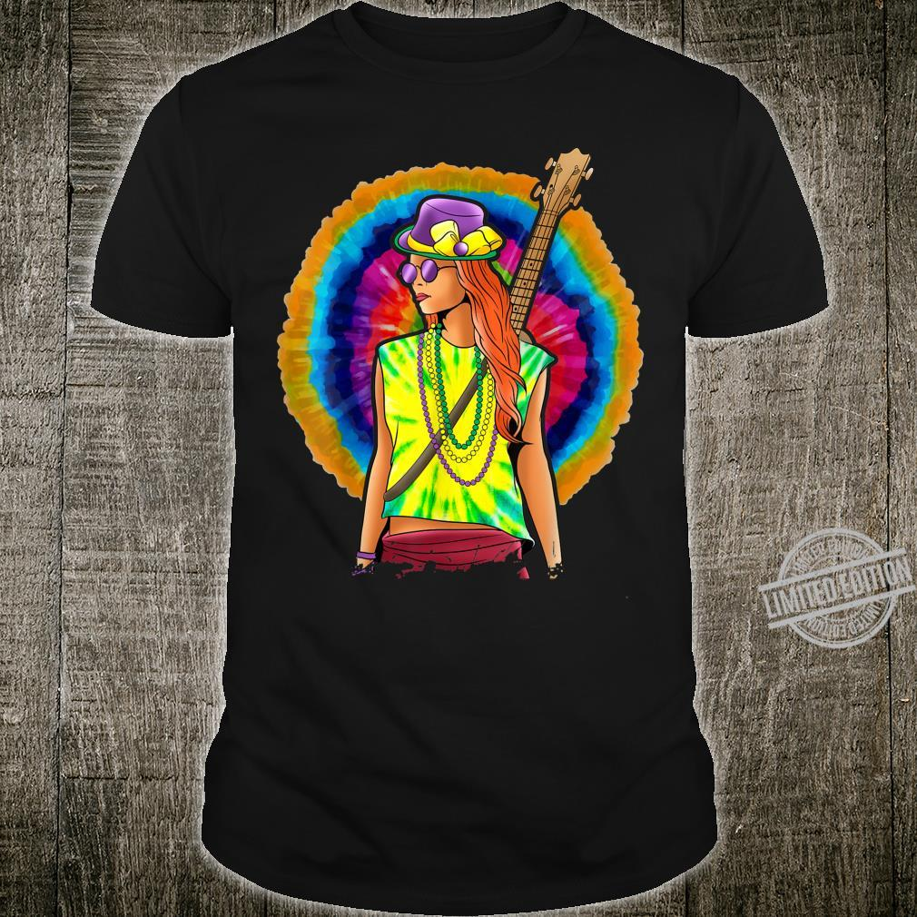 Groovy Hippie Mardi Gras Shirt Tie Dye Guitar Trippy Shirt