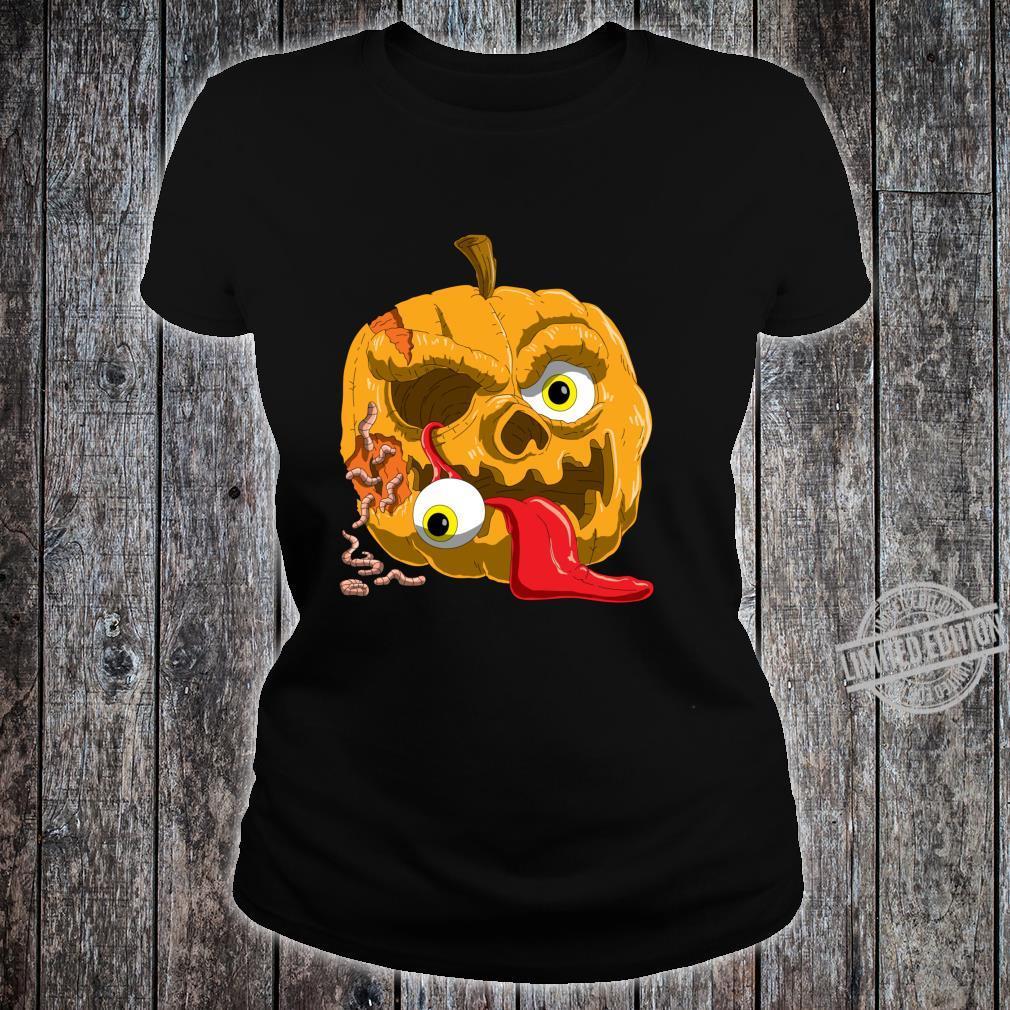 Gruseliges Zombie Kürbis für Horror Fans und Halloween Langarmshirt Shirt ladies tee