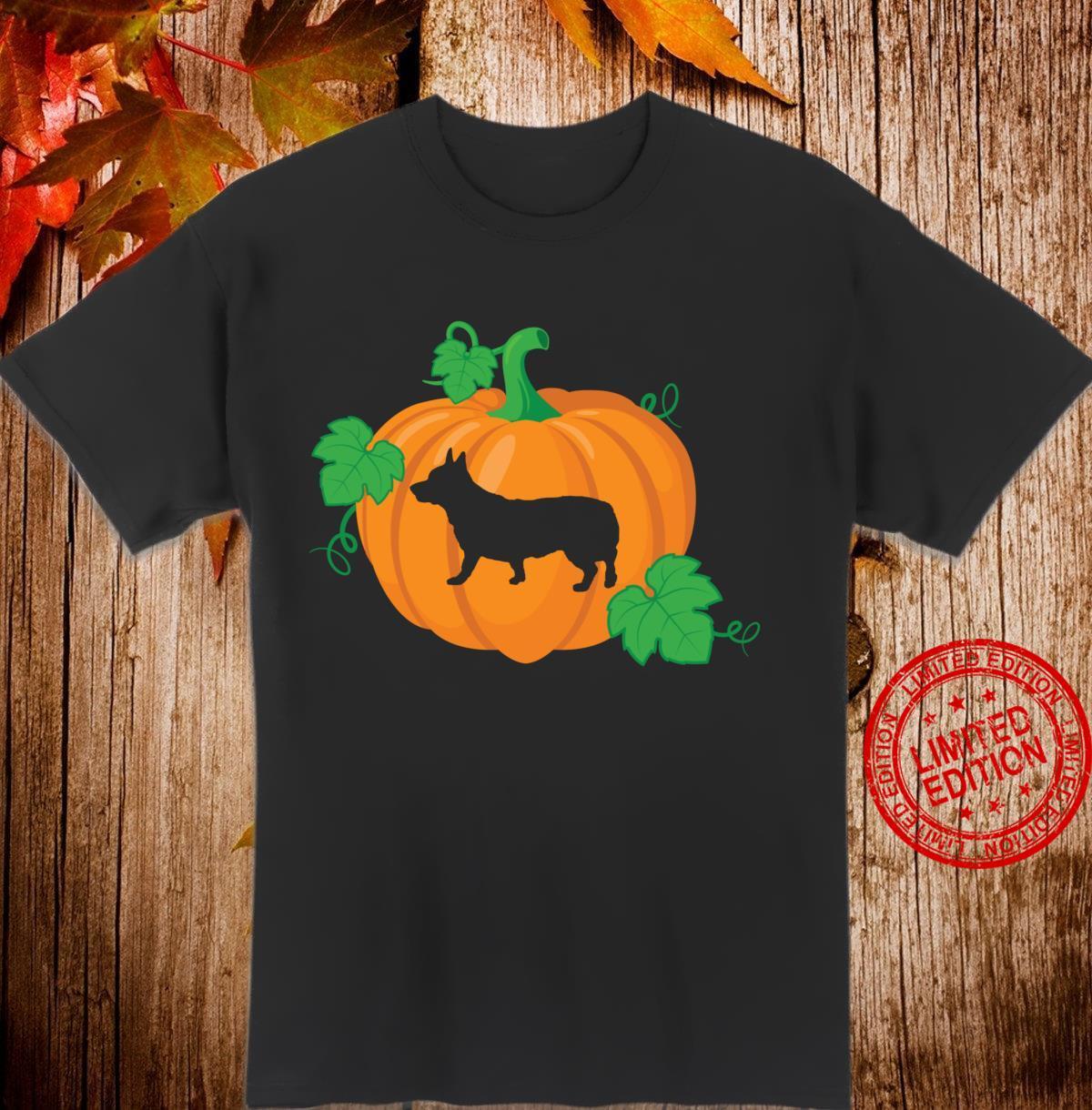 Halloween Corgi Dog Silhouette in Orange Pumpkin Shirt