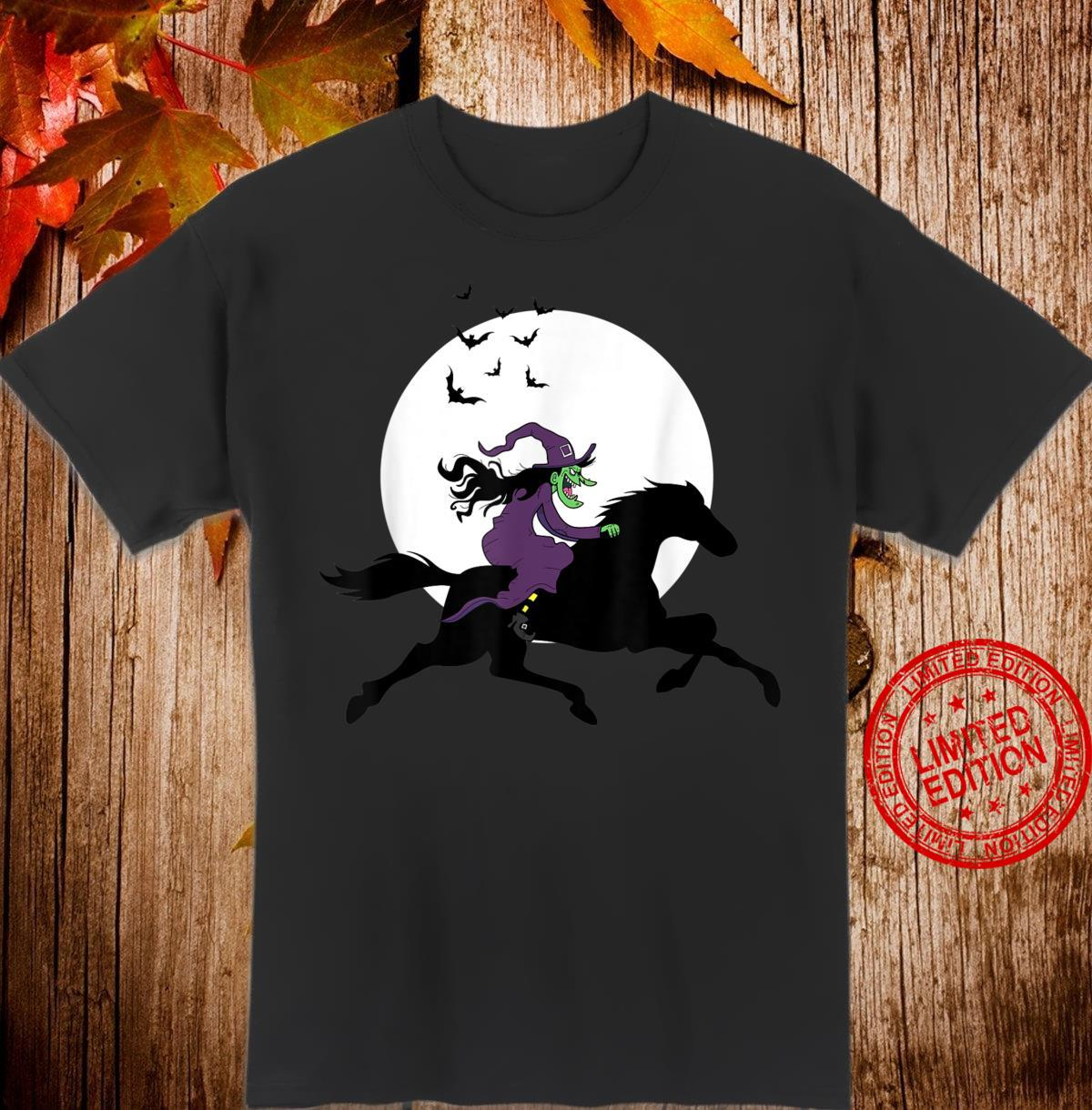 Horseback Riding Witch Scary Equestrians Halloween Horse Shirt