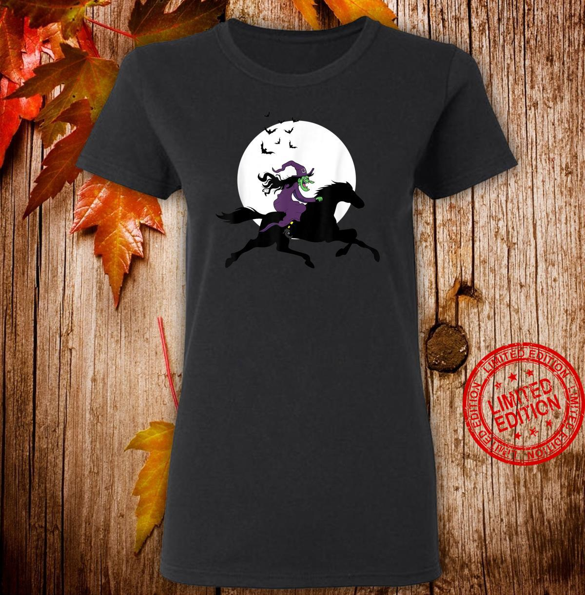 Horseback Riding Witch Scary Equestrians Halloween Horse Shirt ladies tee