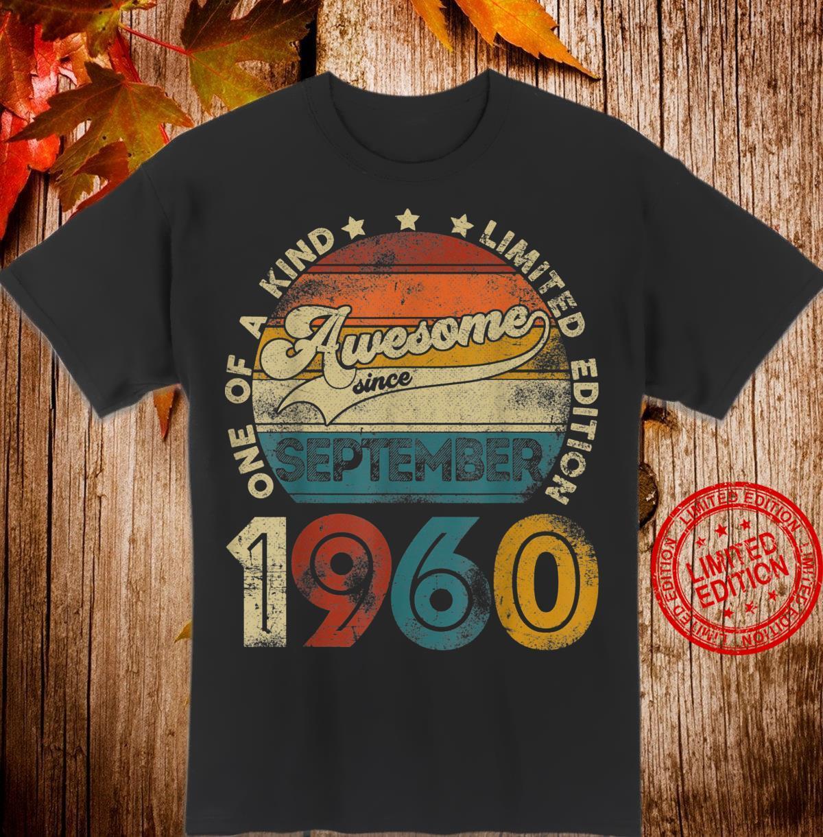 Jahrgang September 1960 Design 60 Jahre alt 60. Geburtstag Shirt