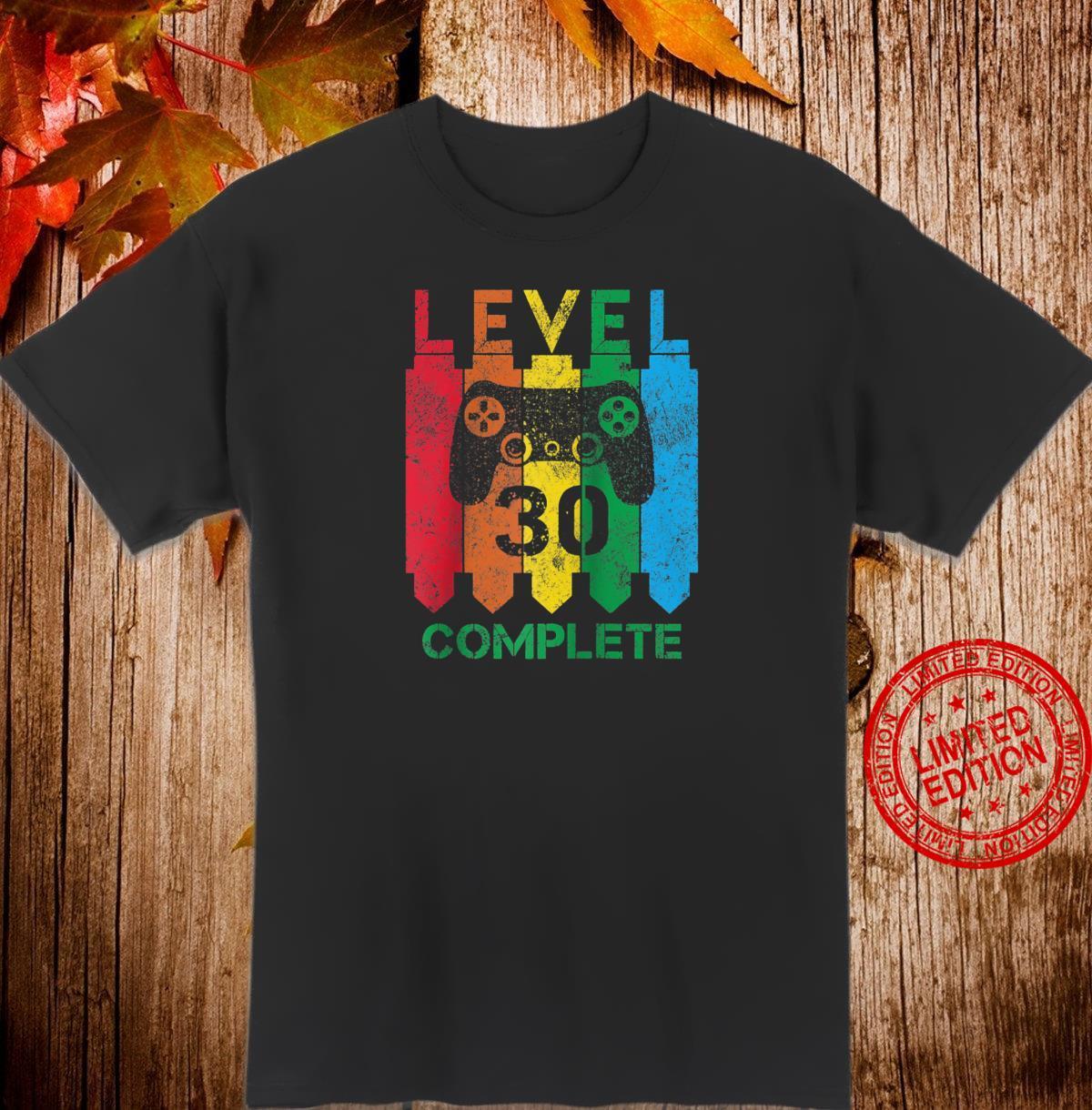 Level 30 Complete Vintage Gamer 30th Birthday Shirt