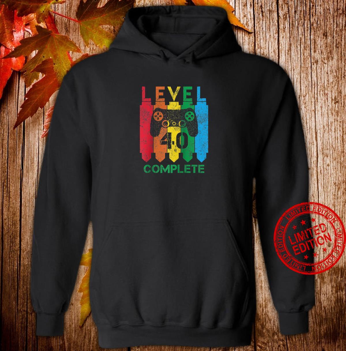 Level 40 Complete Vintage Gamer 40th Birthday Shirt hoodie
