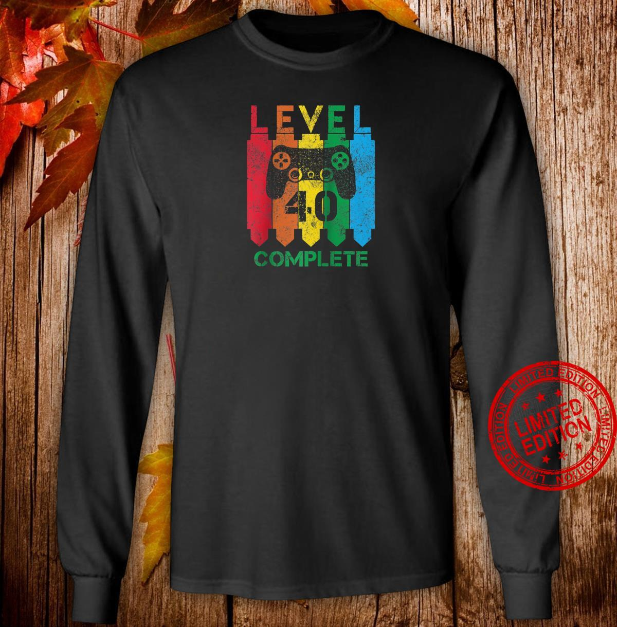 Level 40 Complete Vintage Gamer 40th Birthday Shirt long sleeved