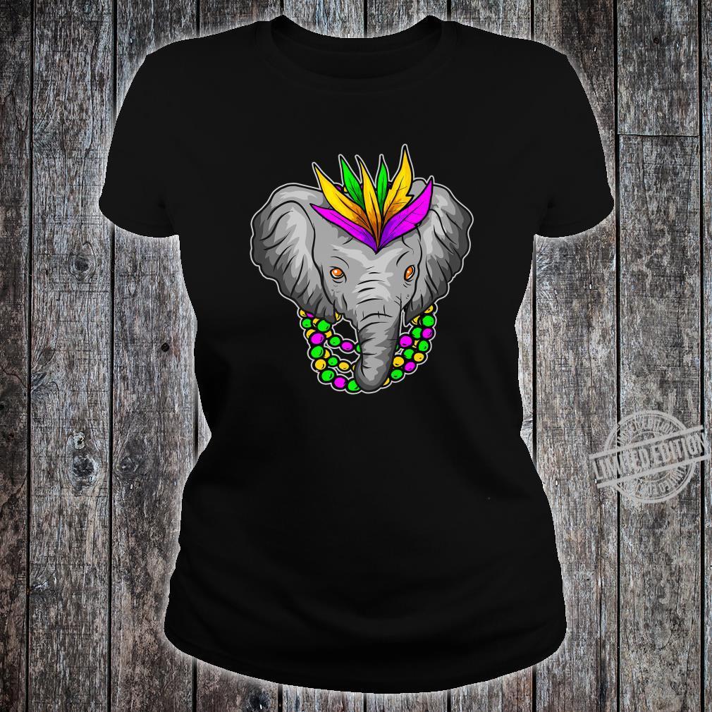 Mardi Gras Elephant Beads Shirt ladies tee
