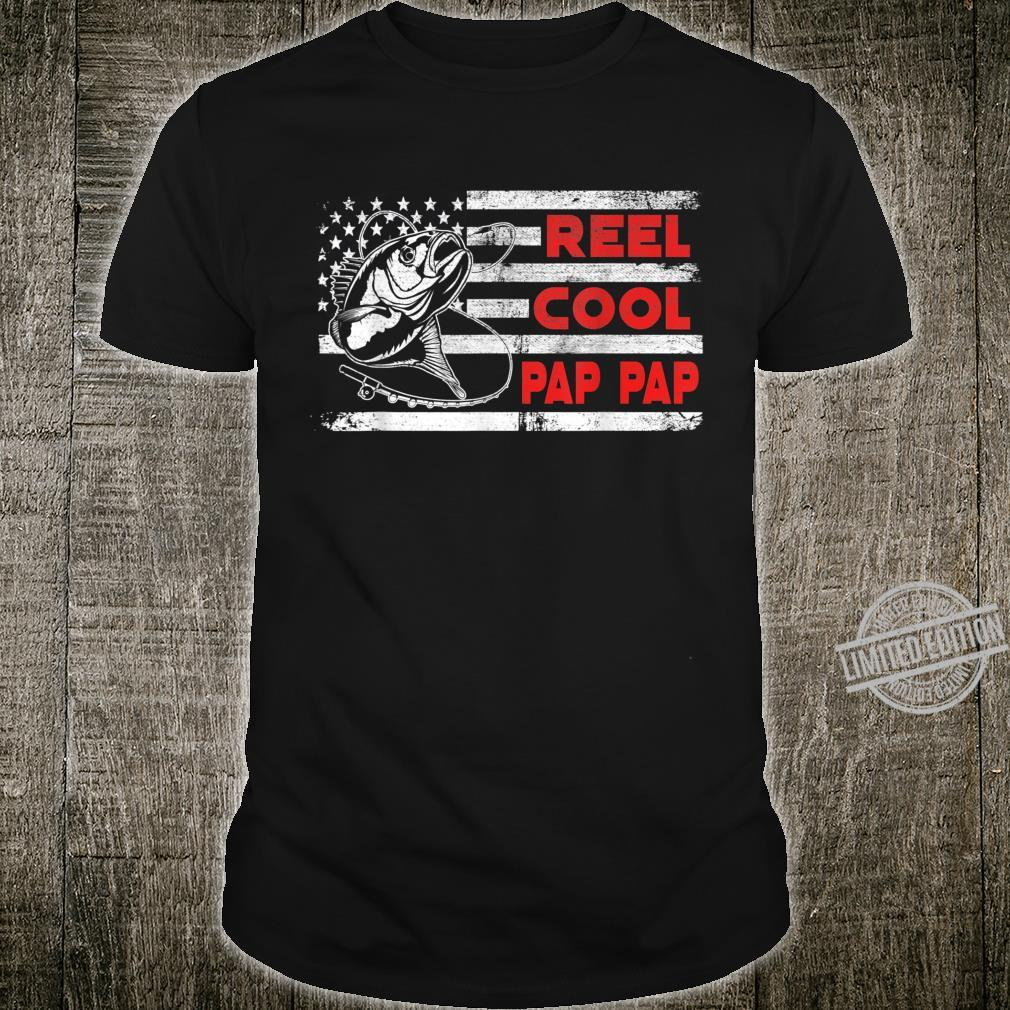 Mens Reel Cool Pap Pap Shirt American Flag Fishing Father's Day Shirt