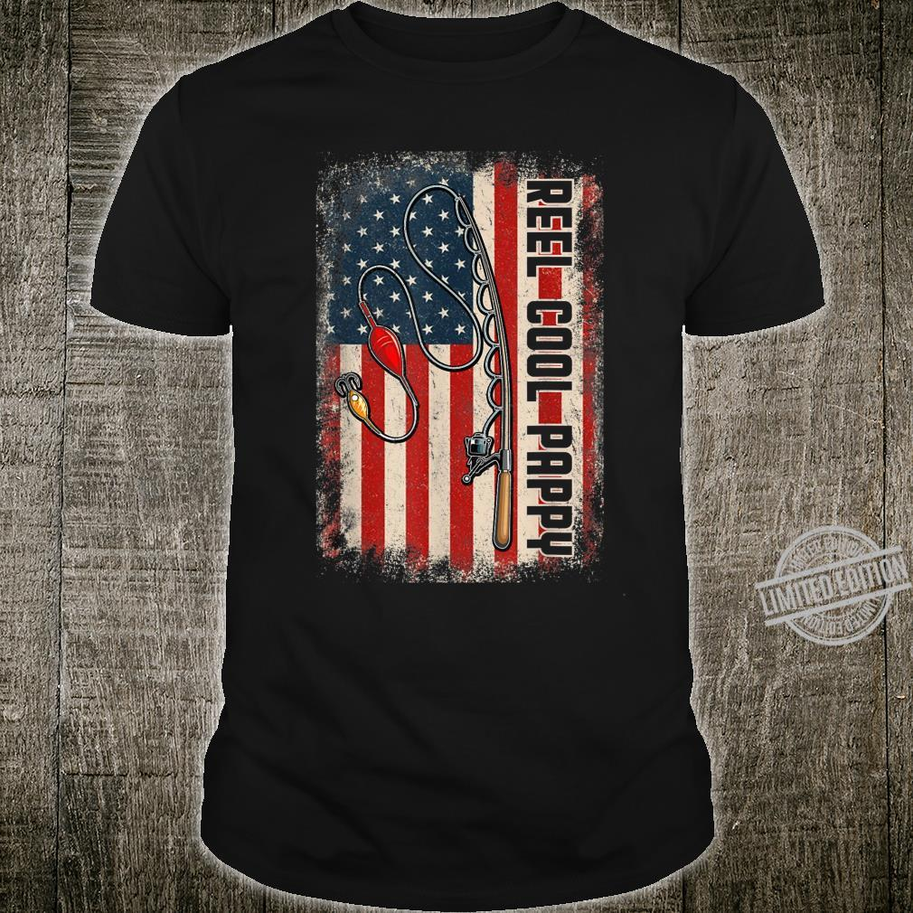 Mens Reel Cool Pappy Shirt American Flag Fishing Fathers Day Shirt
