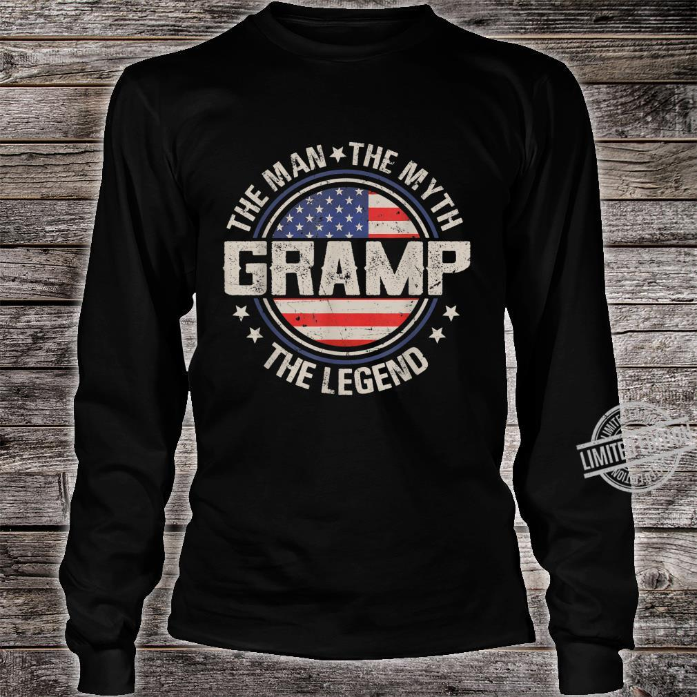 Mens Retro Fathers Day Gramp The Man The Myth The Legend Shirt long sleeved