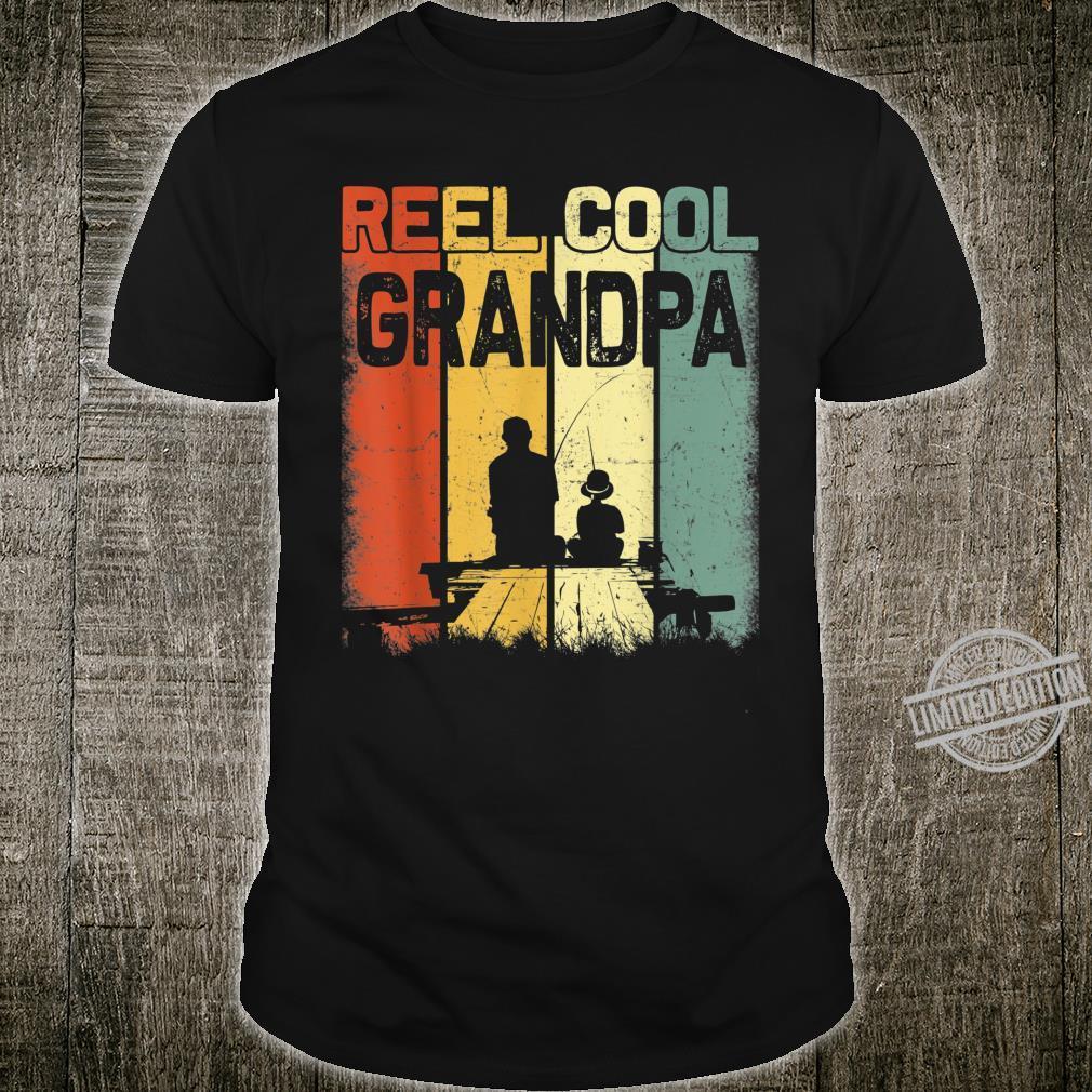 Mens Retro Reel Cool Grandpa Fishing Vintage Fathers Day Shirt