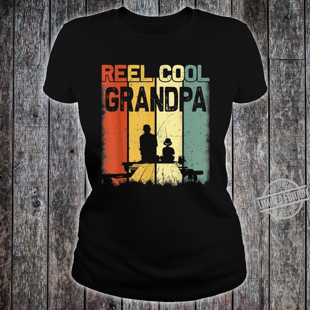 Mens Retro Reel Cool Grandpa Fishing Vintage Fathers Day Shirt ladies tee