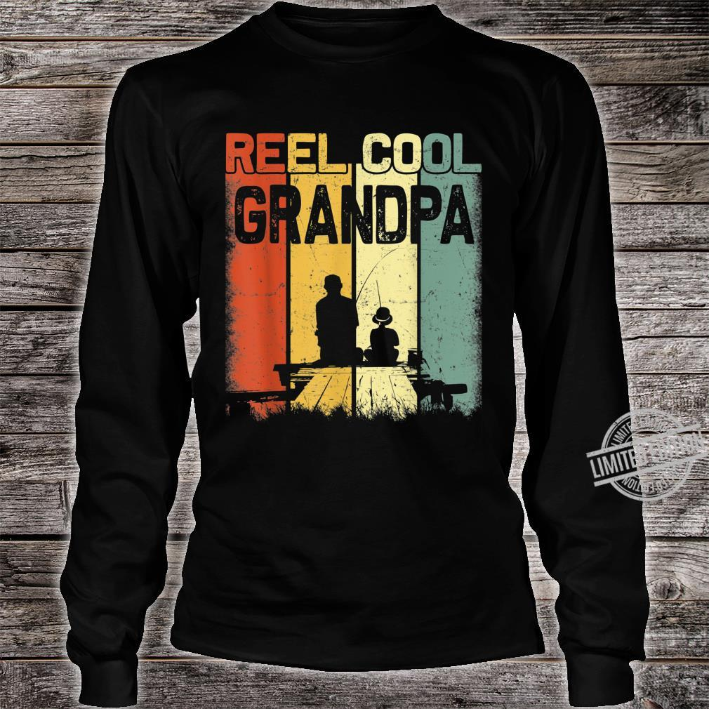Mens Retro Reel Cool Grandpa Fishing Vintage Fathers Day Shirt long sleeved