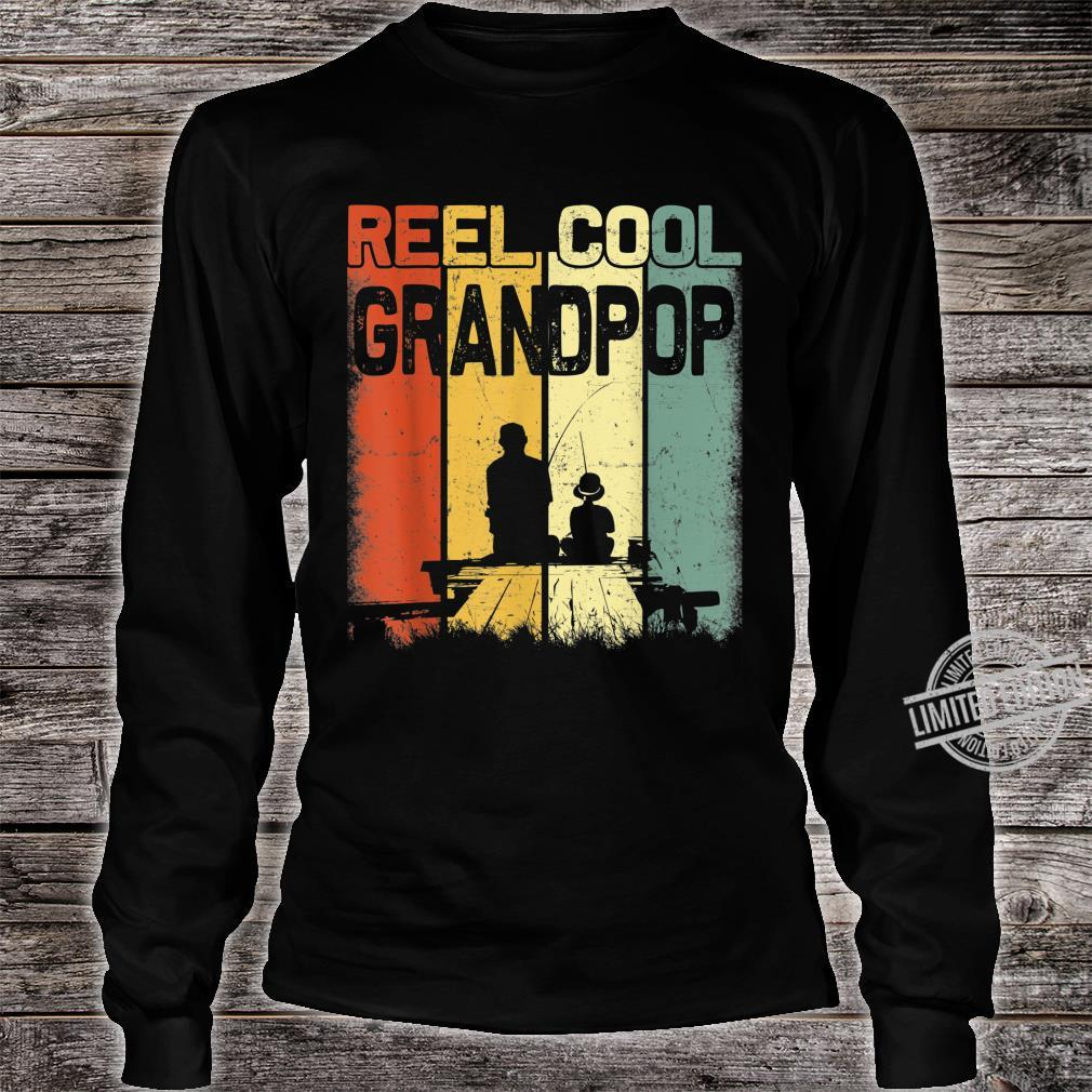 Mens Retro Reel Cool Grandpop Fishing Vintage Fathers Day Shirt long sleeved