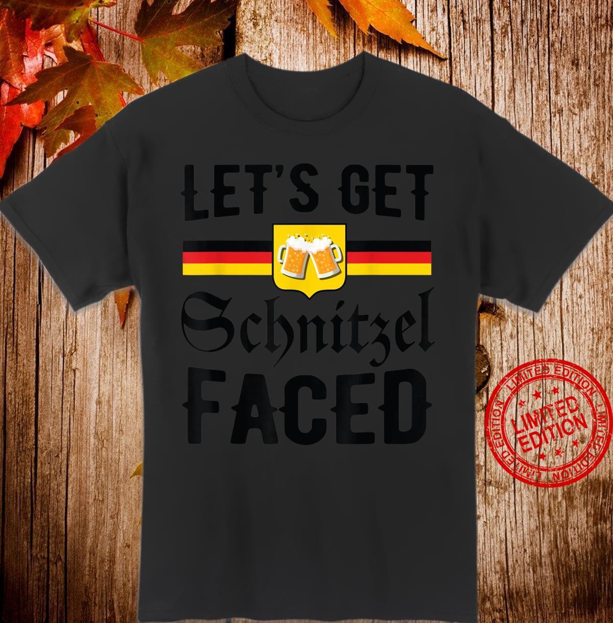 Oktoberfest Let's Get Schnitzel Faced Beer German Flag Shirt