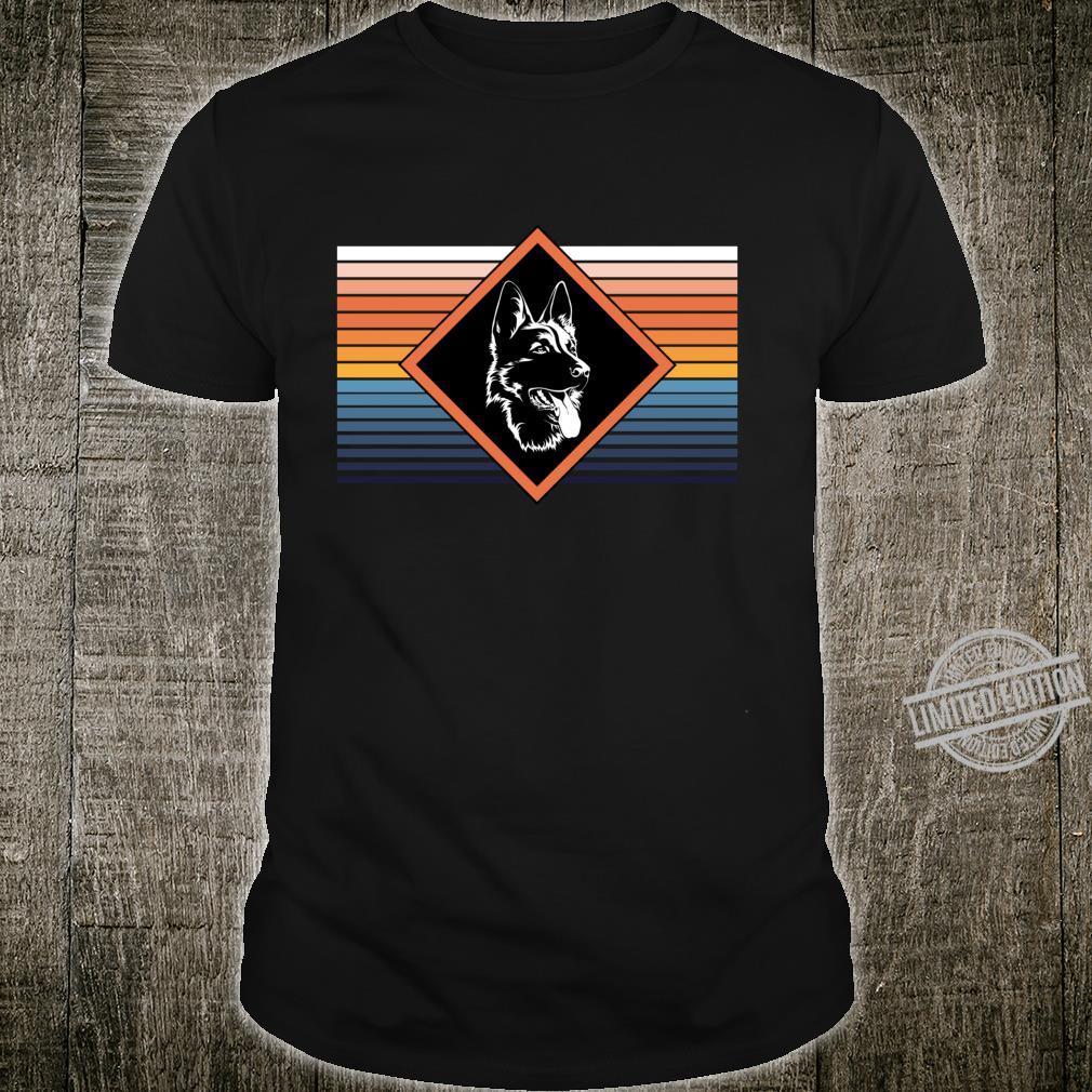 Portrait deutscher Schäferhund Retro Streifen Motiv Shirt