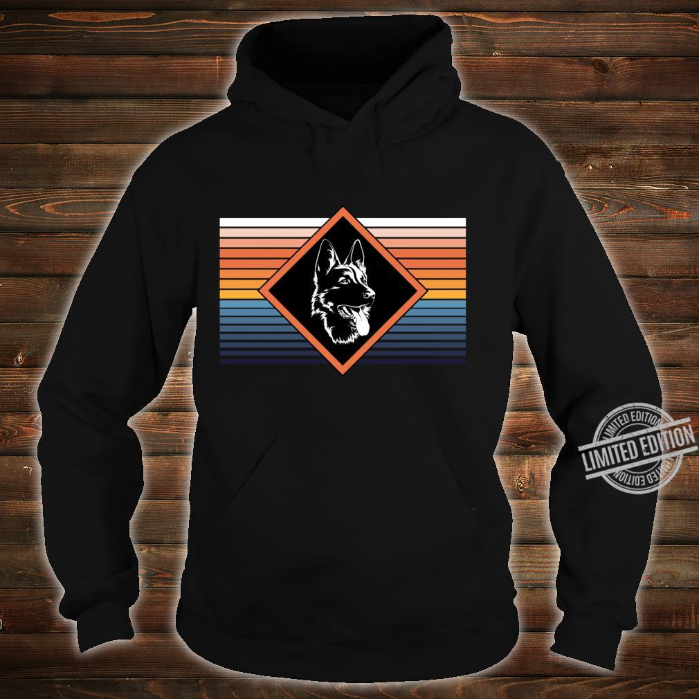 Portrait deutscher Schäferhund Retro Streifen Motiv Shirt hoodie