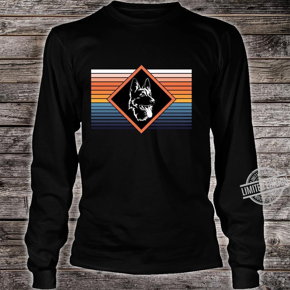 Portrait deutscher Schäferhund Retro Streifen Motiv Shirt long sleeved