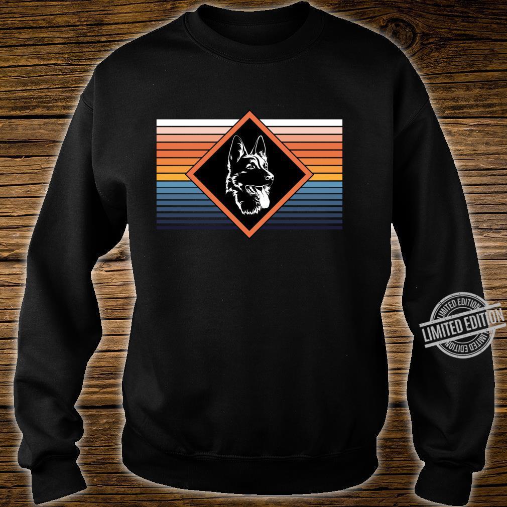 Portrait deutscher Schäferhund Retro Streifen Motiv Shirt sweater