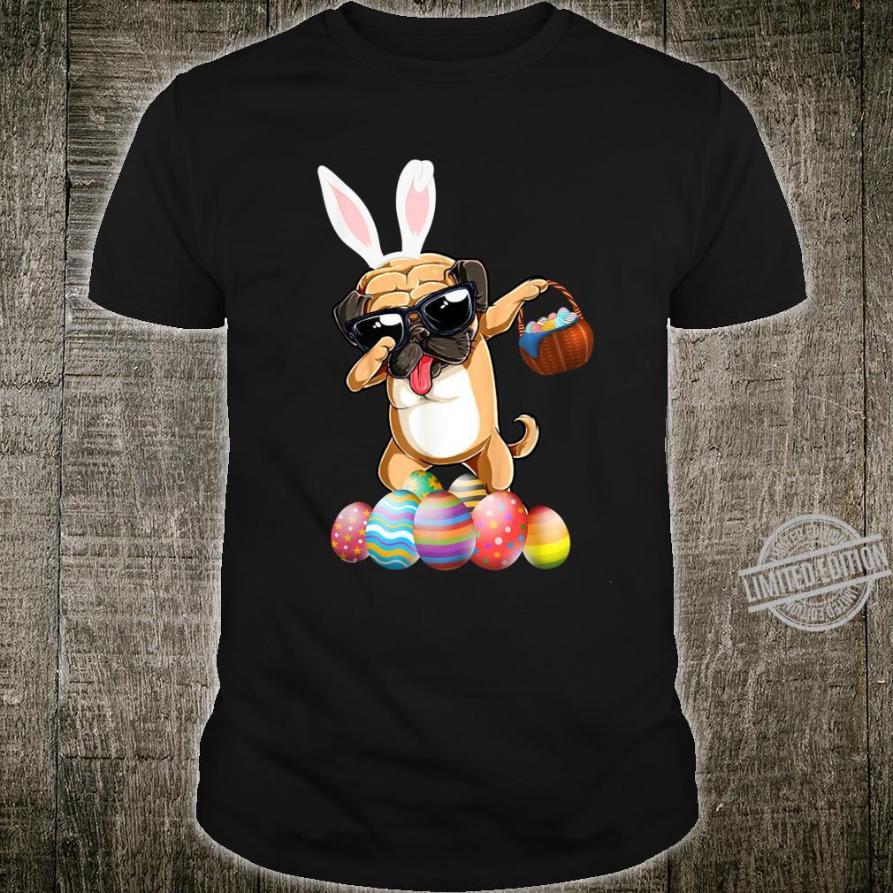 Pug Bunny Dog Dabbing With Easter Eggs Basket Shirt