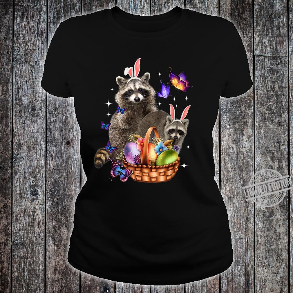 Raccoons Easter Day Costume Love Egg Bunny Happy Easter Shirt ladies tee