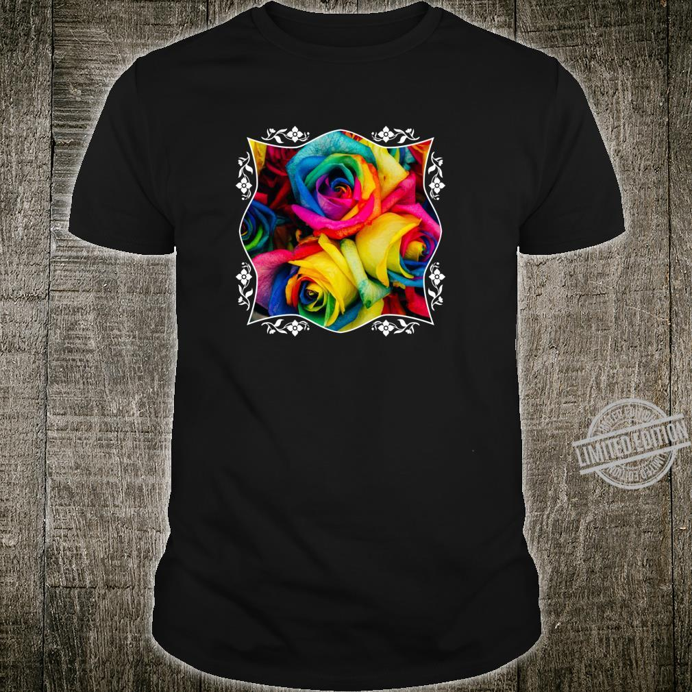 Rainbow Roses Colorful Pink Purple Blue Yellow Flower Pride Shirt