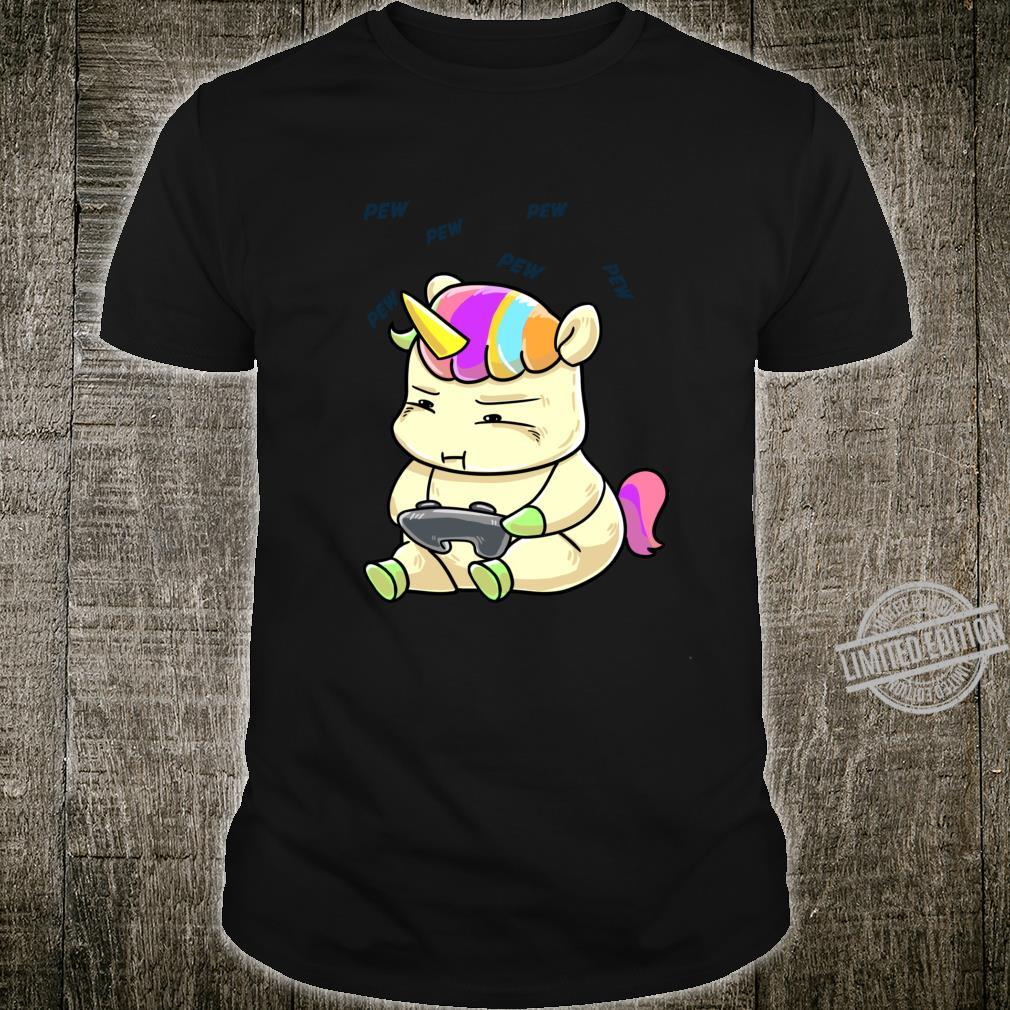 Rainbow Unicorn Playing Cute Animal Video Game Player Shirt