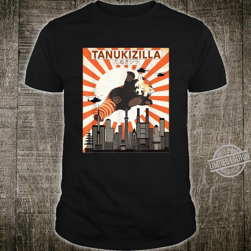 Rare Tanukizilla Kicking Kaiju Saves Tokyo Red Panda Shirt