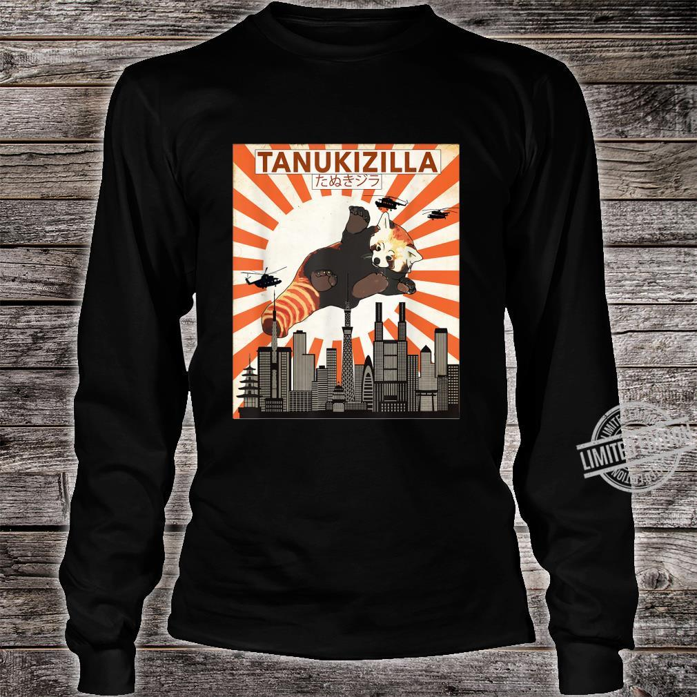 Rare Tanukizilla Kicking Kaiju Saves Tokyo Red Panda Shirt long sleeved