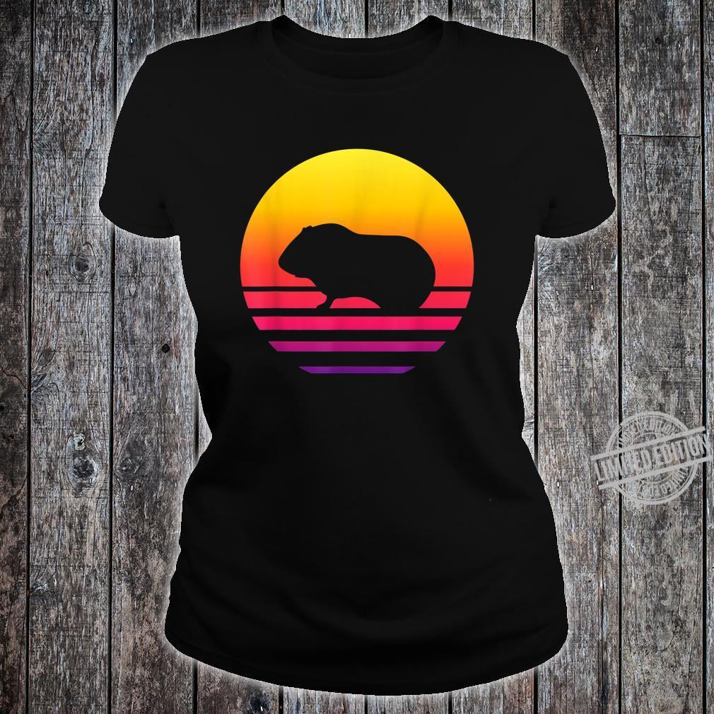 Retro Vintage Guinea pigGraphic Sunset Shirt ladies tee