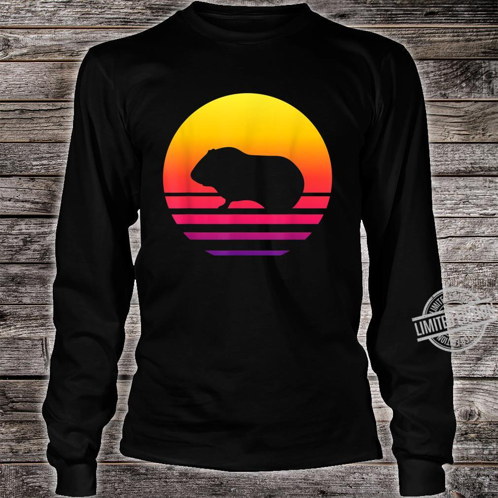 Retro Vintage Guinea pigGraphic Sunset Shirt long sleeved