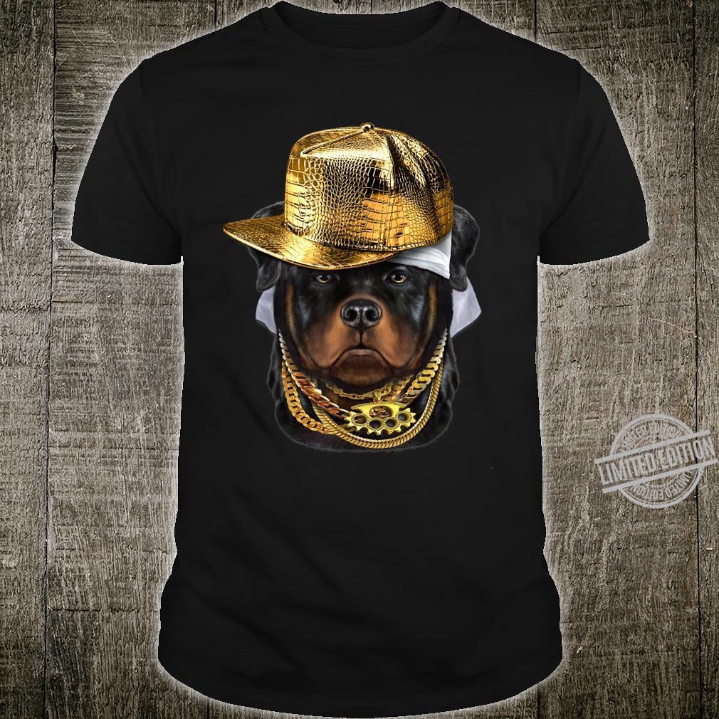 Rottweiler Hund im Kappe als Hip Hop Rapper Shirt