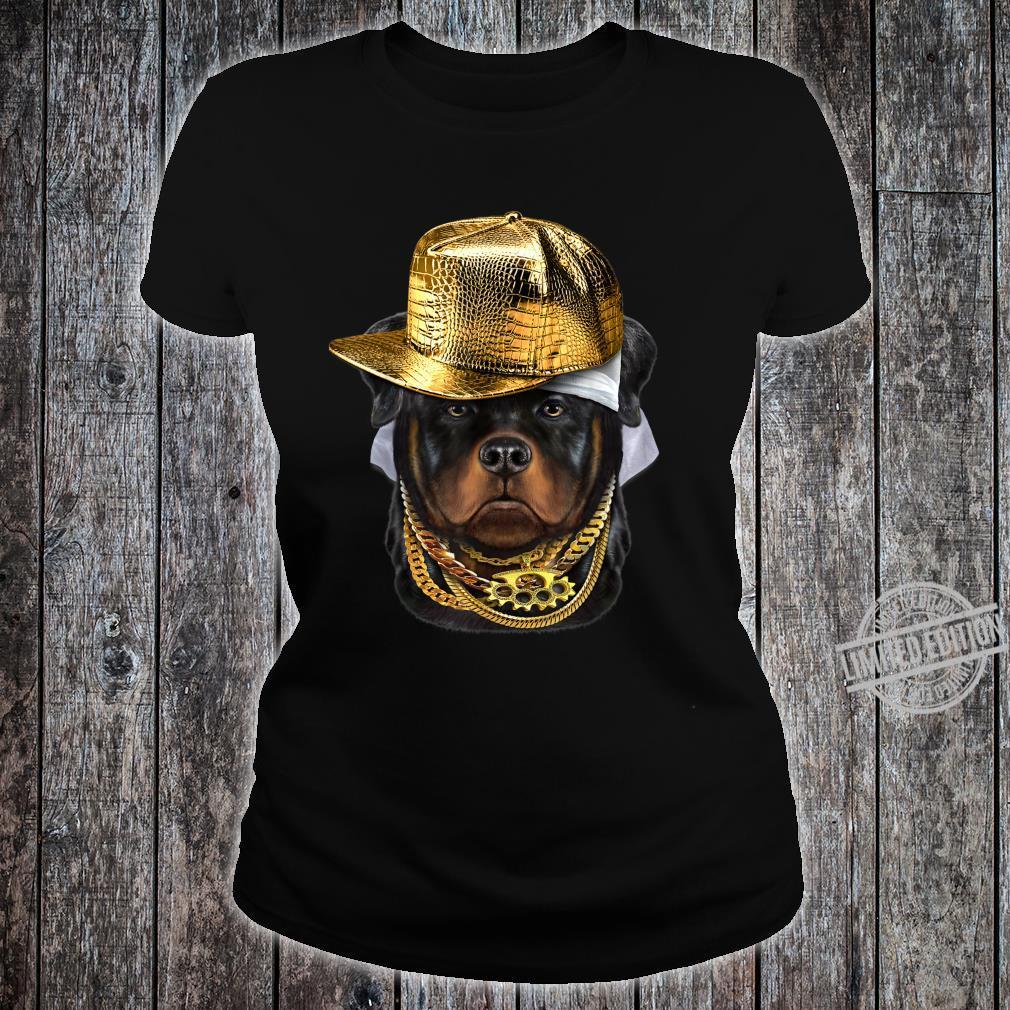 Rottweiler Hund im Kappe als Hip Hop Rapper Shirt ladies tee