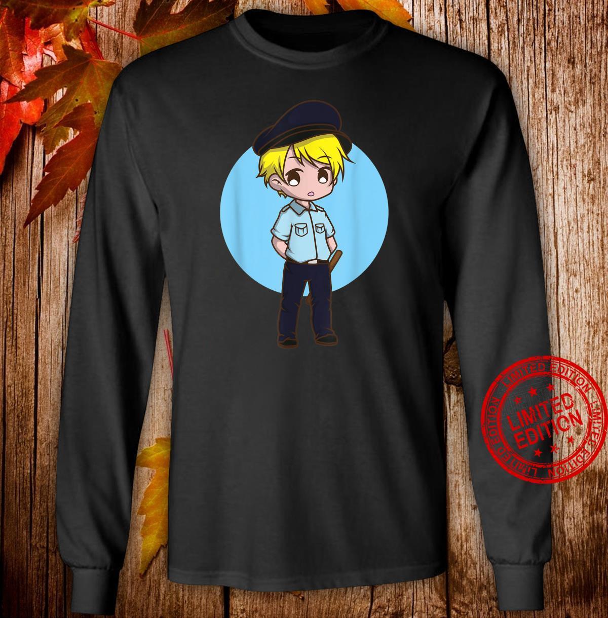 Sicherheitsbeamter Kawaii Anime Junge Chibi Geschenk Shirt long sleeved