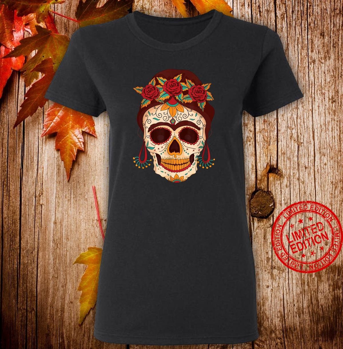 Sugar Skull The Day of The Dead Floral skull Shirt ladies tee