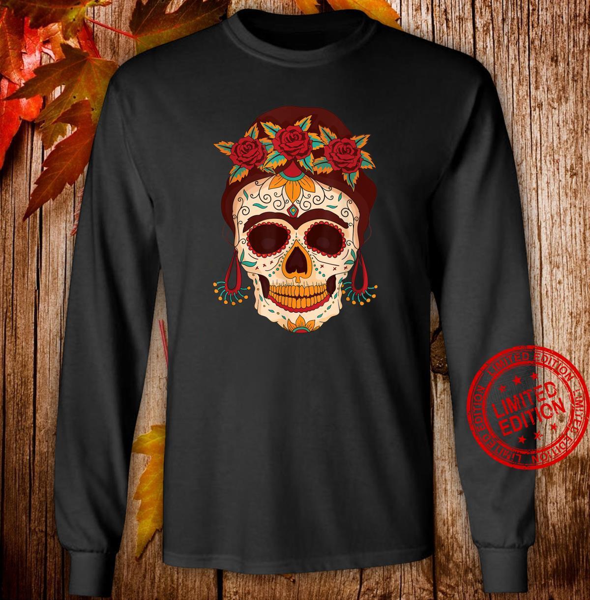 Sugar Skull The Day of The Dead Floral skull Shirt long sleeved