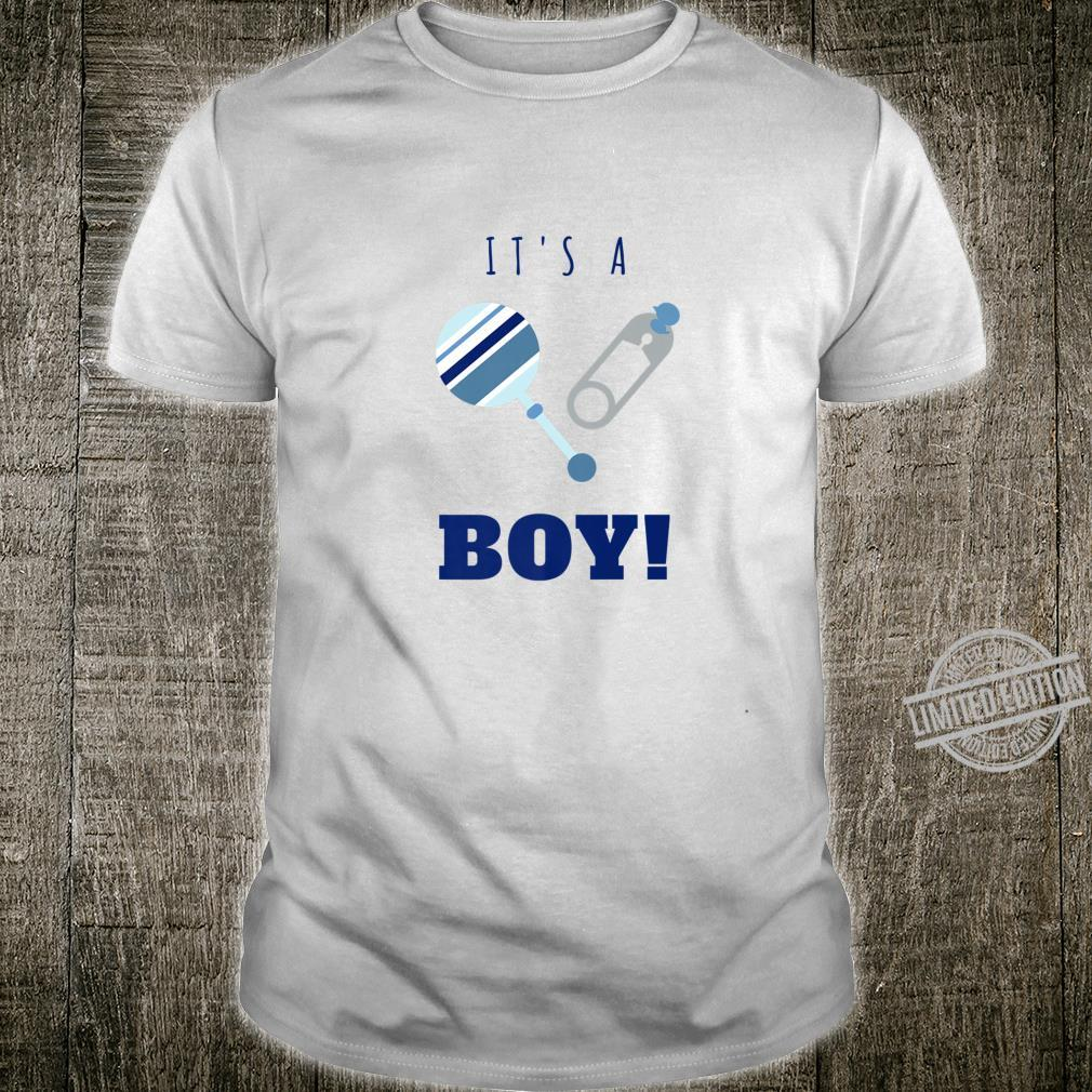 Teal Blue It's a Boy Gender Reveal Baby Rattle Shirt