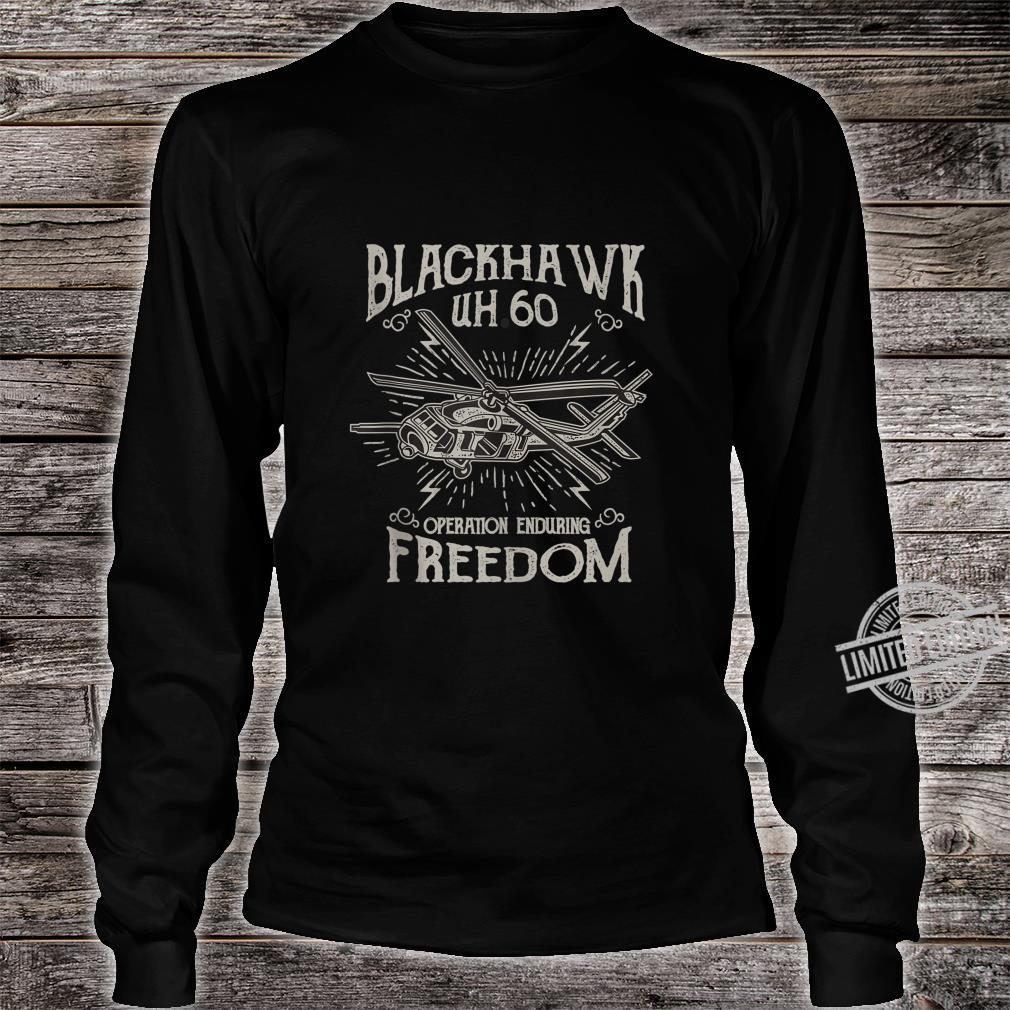 UH60 Blackhawk Military Helicopter Shirt long sleeved
