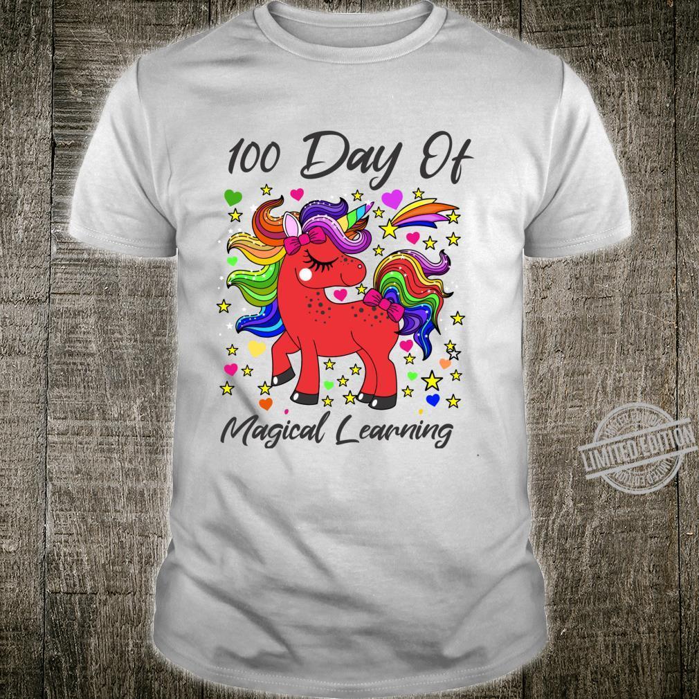 Unicorn 100 Day Of Magical Learning Birthday Girl Shirt
