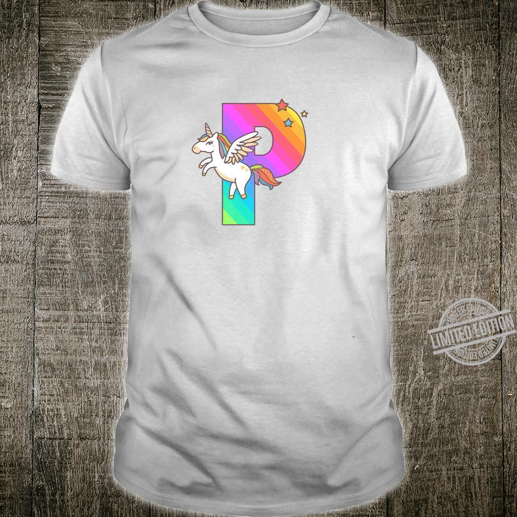 Unicorn Monogram Letter P Initial Cute Girls Birthday Shirt