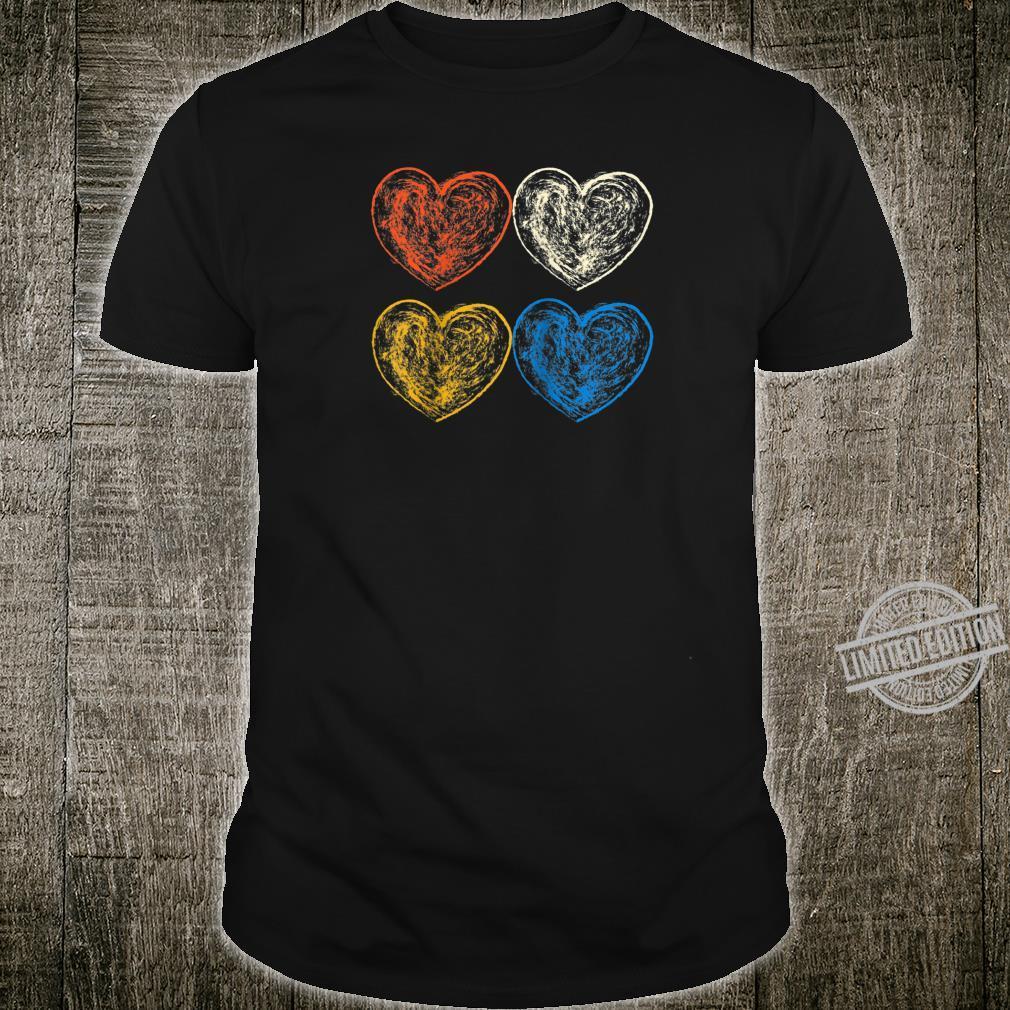 Vintage Hearts Sketch Art Valentines Day Shirt