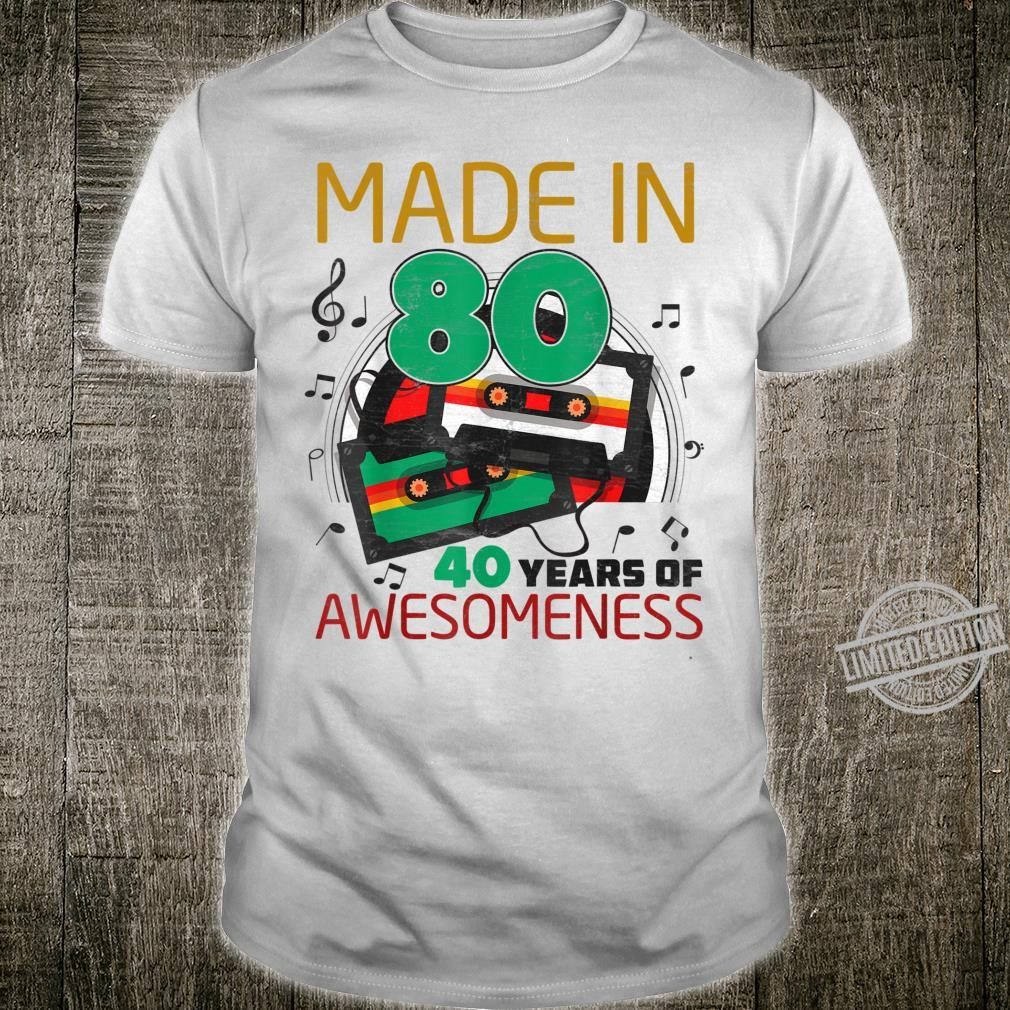 Vintage Made in 80 40 Yrs of Awesomeness 40th Birthday Retro Shirt